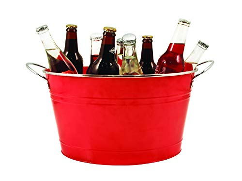 Twine 2585 Country Home: Big Red Galvanized Tub, Red