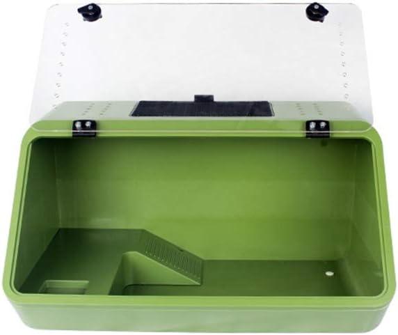 ボックス、タートルタンクをブラジル亀ポットのボックスカメテラスヴィラ水生タンク爬虫類人工植物ケージを繁殖ペット (Color : Package B green cylinder)
