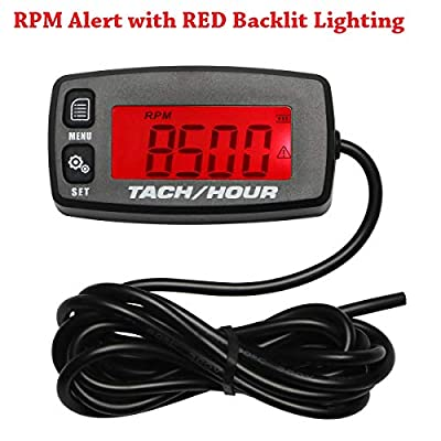 Backlit Upgraded Tach Maintenance RPM Hour Meter Tachometer for RC Toys PWC ATV Motorcycles Marine Engines Chain Saws Tractors Lawnmowers: Automotive
