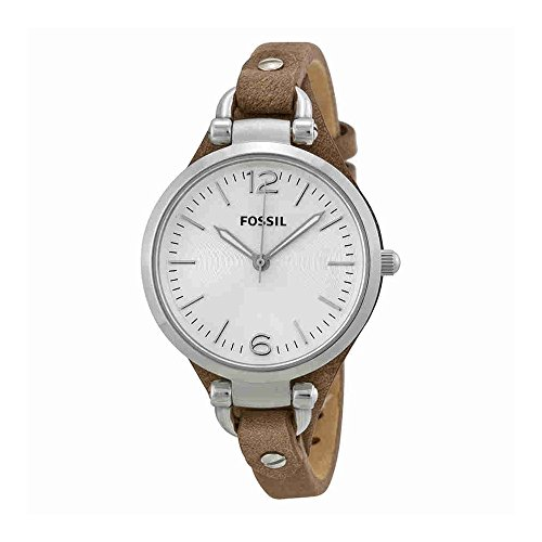 Fossil Women's Georgia Quartz Stainless Steel and Leather Casual Watch, Color: Silver-Tone, Brown (Model: ES3060) by Fossil