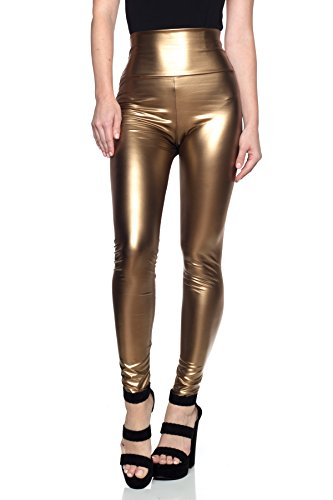 Women's J2 Love Faux Leather High Waist Leggings, Large, Matte - Copper Leather Metallic