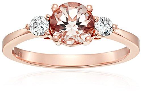 14k Rose Gold Morganite And Diamond 3-stone Engagement Ri...