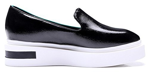 Summerwhisper Kvinna Trendiga Färgblock Fyrkantig Tå Låga Övre Plattformen Dagdrivare Skor Halka På Sneakers Grönt