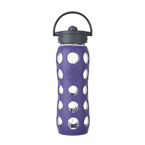 Lifefactory 22-Ounce BPA-Free Glass Water Bottle with Straw Cap and Protective Silicone Sleeve, Royal Purple ()