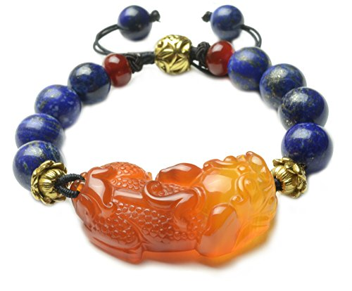 alcedony Tiger Amulet Lapis Lazuli Bracelet - Fortune Feng Shui Jade Jewelry (Imperial Jade Jewelry)