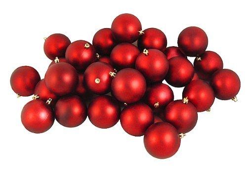 32ct Matte Red Hot Shatterproof Christmas Ball Ornaments 3.25