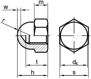 10 Stk DIN 1587 Sechskant-Hutmuttern M10 Edelstahl