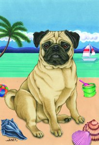 Pug Fawn - Tomoyo Pitcher Summer Beach Large Flag -  Best of Breed, 69022