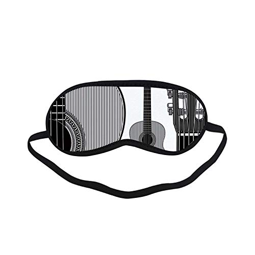 Guitar Fashion Black Printed Sleep Mask,Monochrome Design Striped Acoustic Classical Instruments Folk Country Music Concert Decorative for Bedroom,7.1