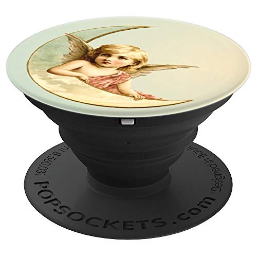 (Vintage Christmas Heavenly Angel Antique Rose and Gold Teal - PopSockets Grip and Stand for Phones and Tablets)