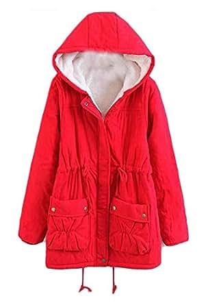 Amazon.com: BYWX Women Slim Fit Winter Hooded Mid Long
