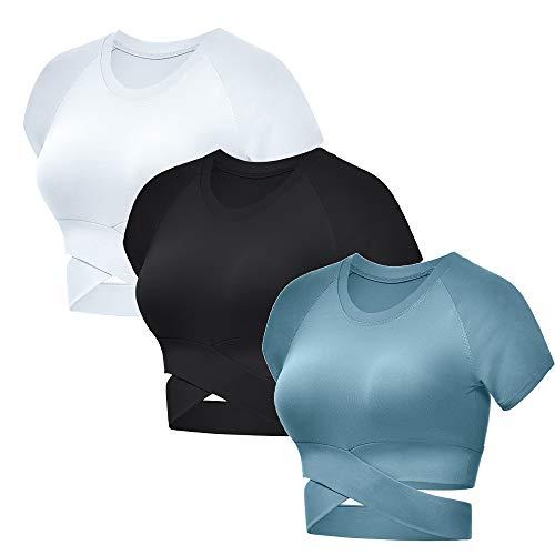Women's Crop Top, Summer Round Neck Cross Bandage Sexy Short-Sleeved Tee Shirts