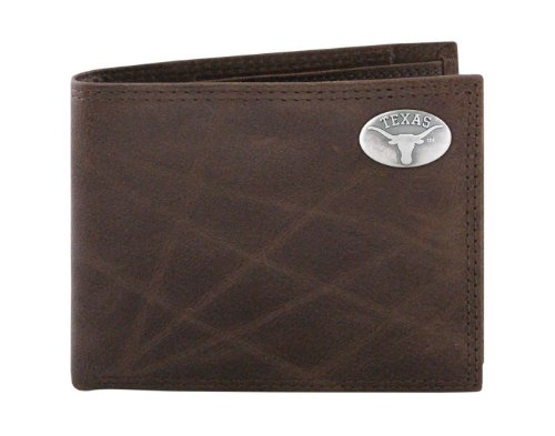 NCAA Texas Longhorns Brown Wrinkle Leather Bifold Concho Wallet, One Size