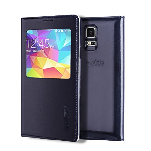 S5 Case, Galaxy S5 Case, Huijukon Luxury S-VIEW Window Flip Leather Case Cover with Smart Sleep/Wake Up Function for Samsung Galaxy S5 i9600 G900 (Black)