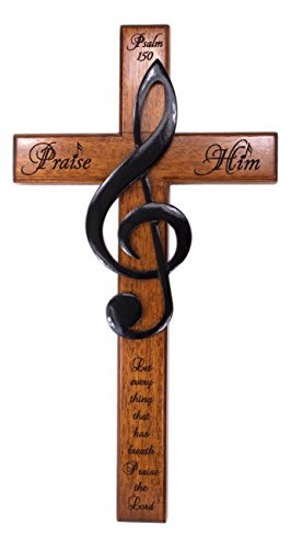 H.J. Sherman Praise Him 12'' Carved Wooden Solid Mahogany Wall Cross with Treble Clef and Scripture From Psalm 150 by H. J. Sherman