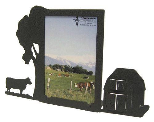 Cow & Barn 3X5V Vertical Picture Frame (Cow Picture Frame)