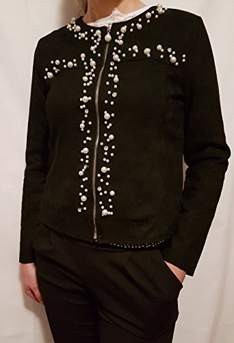 taglia perle Piccole donna giacchetto L giacca nero colore lampo follie con 44 chiusura Zvq4wZg6