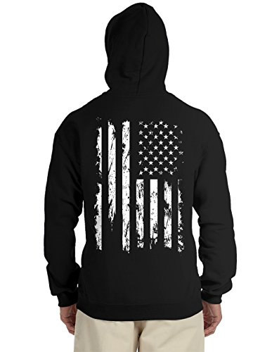 Distressed White USA Flag Back Print Hooded Sweatshirt, Black Medium