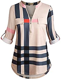 Women's 3/4 Cuffed Sleeve Zipped V Neck Plaid Tunic Shirt Blouses