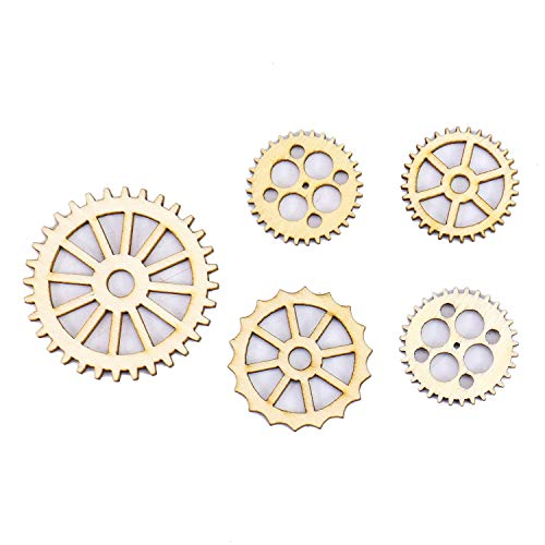 Monrocco 100PCS Assorted Unfinished Blank Gear Wheel Wooden Pieces Gift Tags DIY Painting Crafts or Decorations