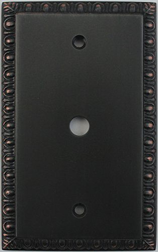 Egg & Dart Oil Rubbed Bronze One Gang Cable TV Wall Plate - Rubbed Black Tv