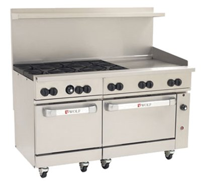 Series Gas Restaurant Range (Wolf C60-SS-6B-24GT-N 60†Gas Open Burner/Griddle Top Restaurant Range - Challenger XL Serie)