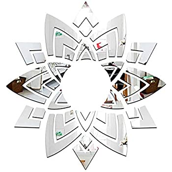 DIY Fashion Ceiling Flowers Wall Art 3D Acrylic Mirror Wall Sticker Mirrored Decorative Stickers Living Room Bedroom Home Decor adesivo de parede (Silver)