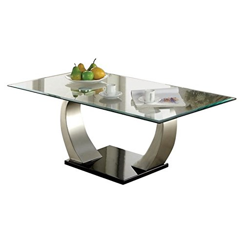 (BOWERY HILL Glass Top Coffee Table in Satin)