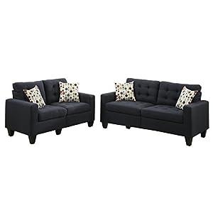 Poundex F6903 Bobkona Windsor Linen-Like 2 Piece Sofa and Loveseat Set
