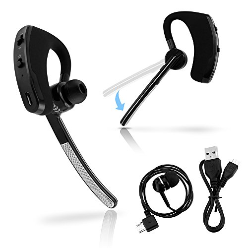 Bluetooth Universal Headset (Oct17 Universal Bluetooth 4.0 Stereo Wireless Business Work Headset Handfree Earphone Compatible with iPhone Samsung HTC LG - Silver)