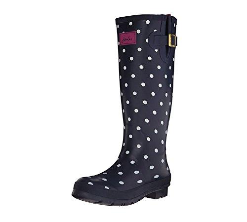 Joules Women's Welly Print Rain Boot, Navy Multi Spot White,