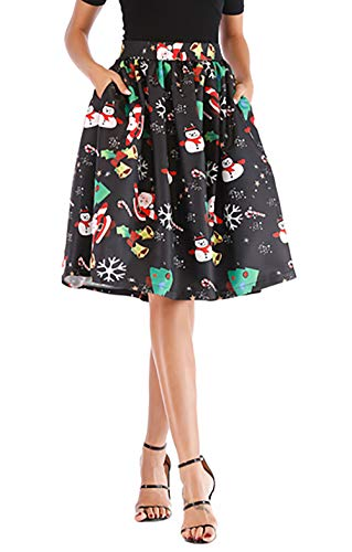 Hanlolo Women's Fit and Flare Christmas Party Skirt Print Tree and Santa Claus Circle Midi Skirt Dress Black -
