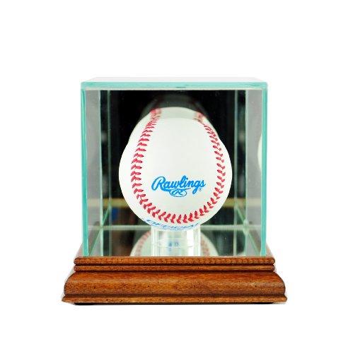 (Perfect Cases MLB Single Baseball Glass Display Case, Walnut)