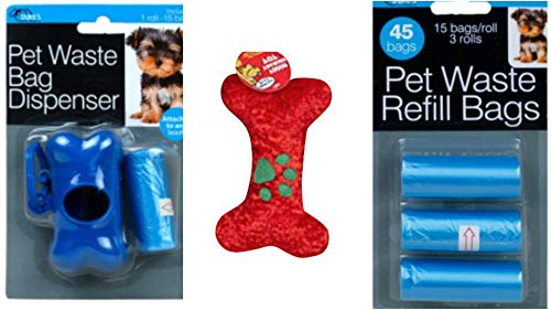 Hashtagz Doggie Poop Bags Bundled with Plush Chenille Dog Bone (Blue/Red/Green)