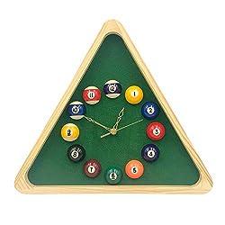 Billiard Wall Clock,Pool Rack Quartz Clock with Solid Wood Frame, 30.6cm