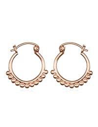 Satya Jewelry Womens Rose Gold Small Mandala Hoop Earrings, One Size