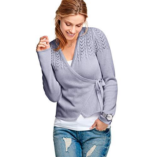 Ellos Women's Plus Size Pointelle Wrap Cardigan - ICY Blue, 14/16