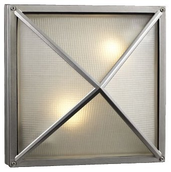PLC 31700 SL Danza - Two Light Outdoor Wall/Flush Mount, Architectural Silver Finish with Frost Glass - Architectural Silver Outdoor Wall