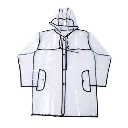 VT BigHome Transparent Rain Coat PVC Vinyl Waterproof Raincoat Outdoor Travel Runway Hooded Poncho Rain Coats Ladies Rainwear