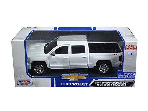 Motormax 2017 Chevy Silverado 1500 LT Z71 Crew Cab Pickup Truck 1/24 Scale Diecast Model Car White (Chevy Silverado Model Truck)