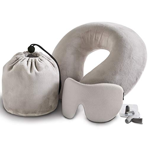 Order Home Collection 4-Piece Luxury Memory Foam Travel Set with Ergonomic Travel Neck Pillow, Sleep Mask, Two Pairs of Earplugs, and Soft Velour Storage Bag ()