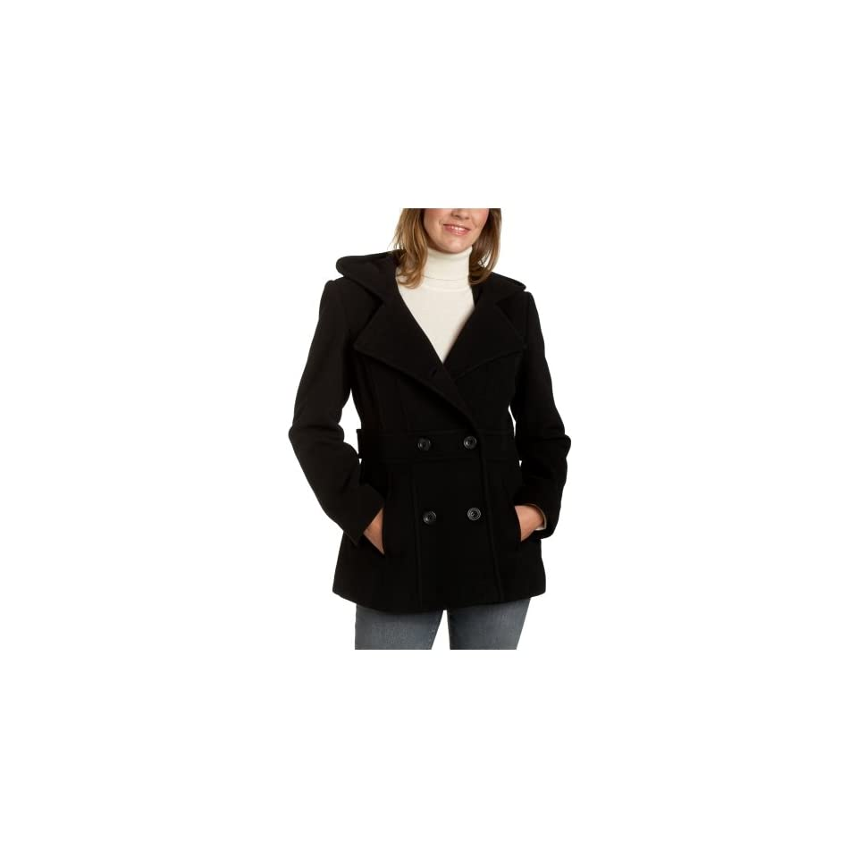 AK Anne Klein Womens Hooded Double Breasted Peacoat
