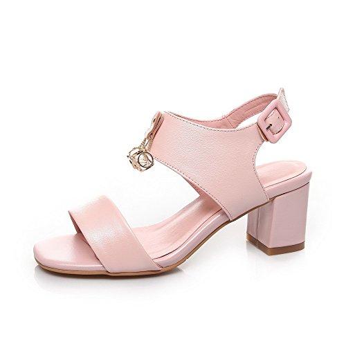 Amoonyfashion Mujeres Kitten-heels Material Blando Solid Hebilla Open Toe Sandals Pink