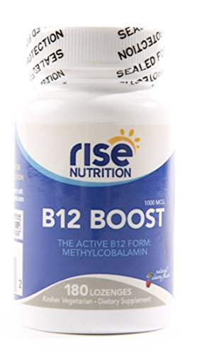 Rise Nutrition Vitamin B12 Boost – 1000mg Daily Dietary Supplement – Boosts Energy, Helps Cell Growth and Reproduction, Anemia, Central Nervous System Health – 180 Vegetarian Cherry Lozenges