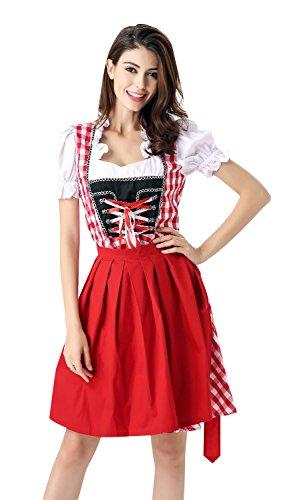 Medieval Maiden Sexy Costumes (KILLREAL Women's German Bavarian Beer Girl Oktoberfest Costume Fancy Dress Red Medium)