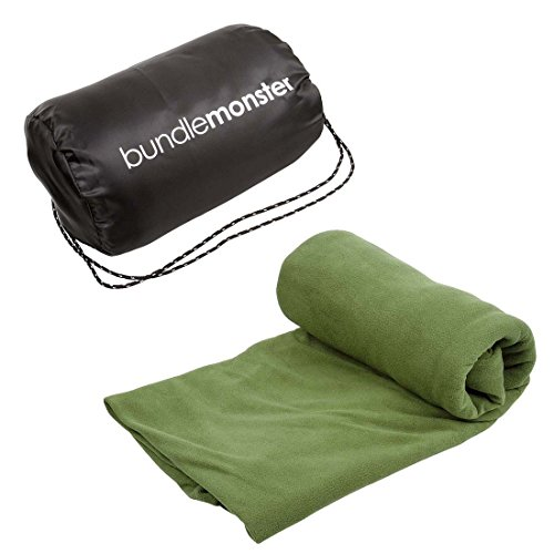 b.m.c Bundle Monster | Sleeping Bag Liner Travel Sheet Camping Sleep Sack | Lightweight, Compact, Zippered Microfiber Fleece | Add Up to 10F Extra for Cold Weather Climates |Soft, Warm & Cozy