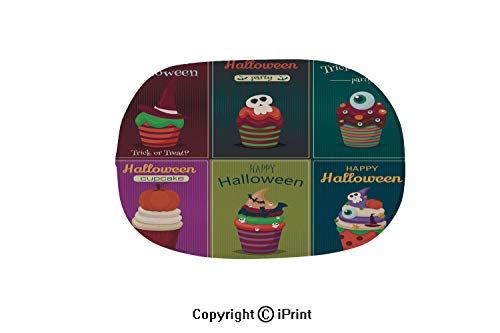 (Customized Modern Non Slip Pure Color Oval Bathroom Bath Shower Bedroom Mat,Cupcake Vector Set Happy Halloween Scary Sweets)