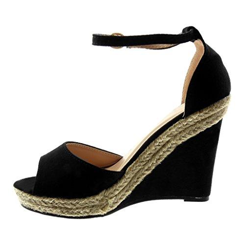 Angkorly Cheville Mode Corde toe Cm Sangle Wedge Peep 11 Chaussures Noir Mules Sandales Plateforme Talon Avec Femme Wedges rSqw0r