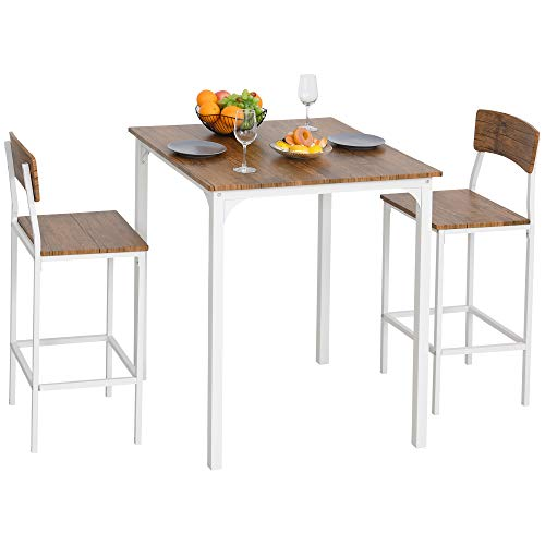 HOMCOM 3 PCs Modern Counter Height Dining Table Set with 2 Matching Stools Foorest Steel Legs White