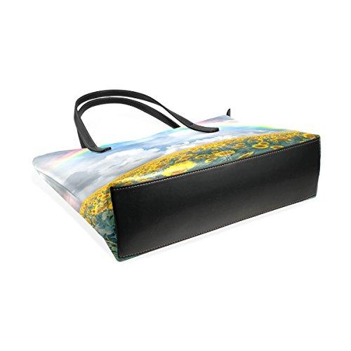 COOSUN Landschaft mit Sonnenblumen Regenbogen PU Leder Schultertasche Handtasche und Handtaschen Tasche für Frauen